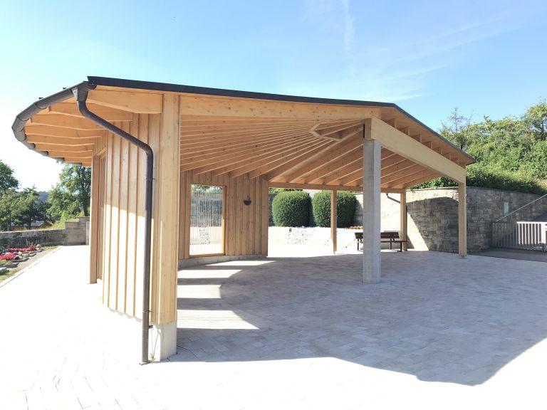 Überdachung des Friedhofsvorplatzes in Eutendorf 1 Planung, Werkplanung, Statik, Bauleitung